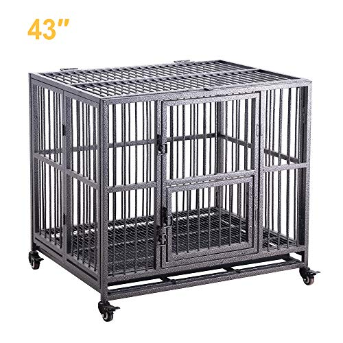 43'' Heavy Duty Dog Cage Strong Folding Metal Crate Kennel and Playpen for Medium and Large Dogs with Double Door, Tray and Rolling Wheels Kennels