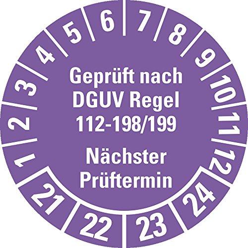 LEMAX® Prüfplakette Geprüft nach DGUV 112-198/199 21-24, violett, Ø 30mm, 18/Bogen