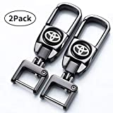 Jazzshion 2 Pack Car Logo Key Chain Key Ring for Toyota Business Gift Birthday Present for Men and Woman