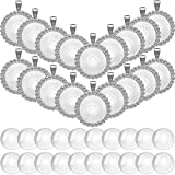 40 Pieces Rhinestone Bezel Pendant Trays Set, Include 20 Pieces Round Bezel Trays Cabochon Pendant Setting with 20 Pieces Clear Glass Cabochons for Photo Pendant DIY Jewelry Craft Making