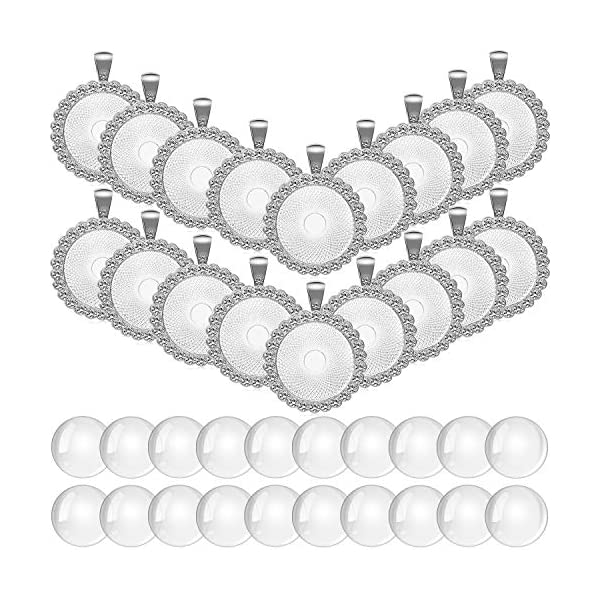 40 Pieces Rhinestone Bezel Pendant Trays Set, Include 20 Pieces Round Bezel Trays...