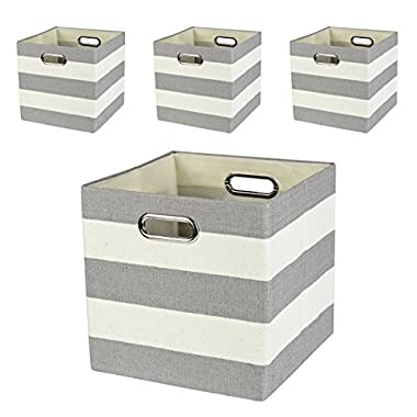 Posprica Collapsible Cube Organizers,Storage Cube Bins Boxes Basket Containers Drawers For Nurseries,Offices,Closets,Home Décor (4, Gerry Stripe)