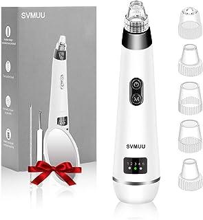 SVMUU Mitesserentferner Vakuum Nase Mitesser entferner, Gesicht- Akne- Sauger, Porenreiniger, mit multifunktionalen 3 farbige LED-Anzeige 5 Stufen, USB aufladbar, Plus 5 auswechselbare Saugköpfe