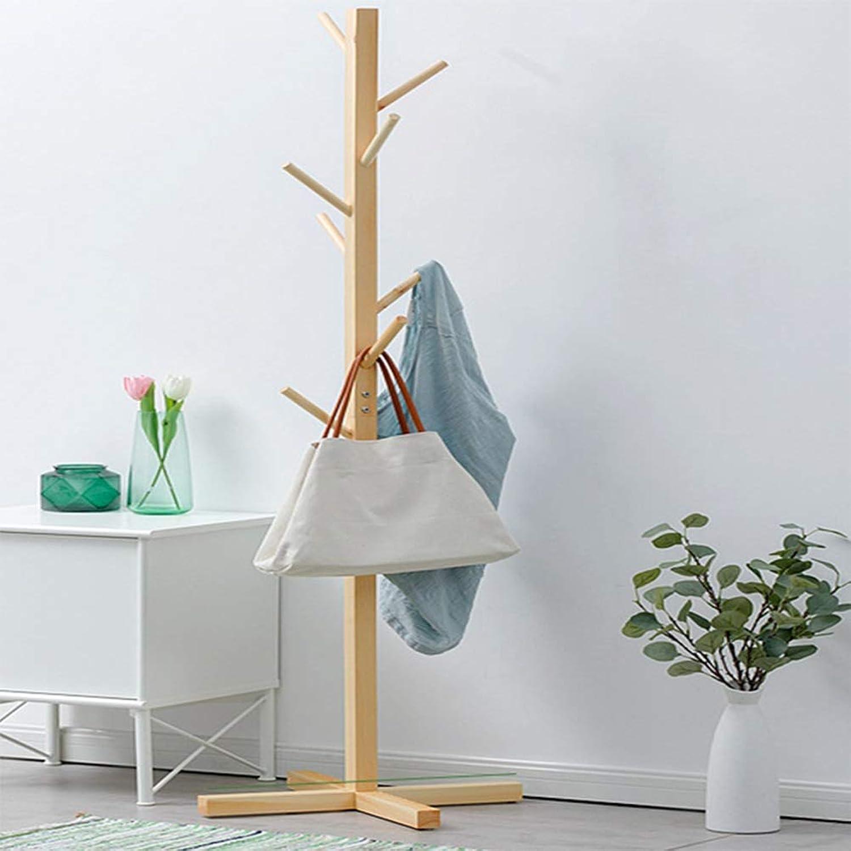 Qi_Hallway Furniture Simple Solid Wood Coat Rack Fashion Hat Coat Rack Living Room Bedroom Clothes Tree Simple Floor Floor Hanger Standing Coat Racks
