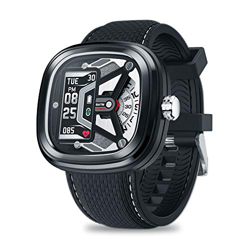 SUQIAOQIAO Zeblaze Hybrid 2 0,96 Zoll IPS-Display-Bildschirm 100 Mah Batterie-Kapazität Herzfrequenz-Messung Smart Watch Anrufabweisung,Schwarz
