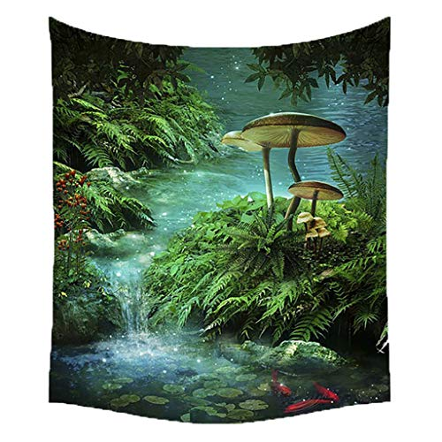 Qmber 2019 Tapestry Hippie Golden Boho Indischer Weiss Wandbehang Tuch Groß Indien Baumwolle Wand tucher Märchen Wald Bäume/C