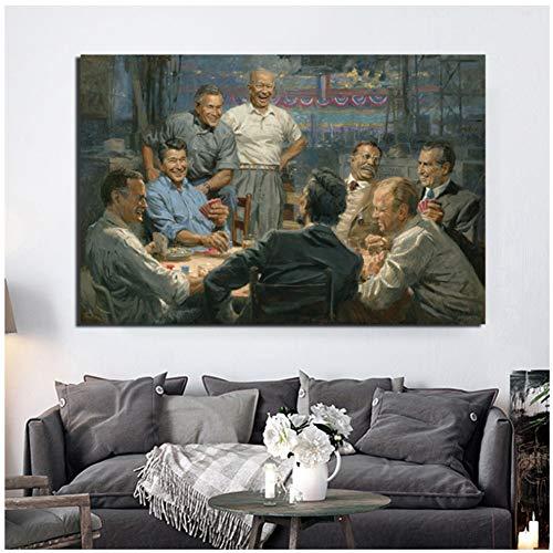 chtshjdtb Präsidenten Kartenspiel DurchKunst Leinwand Poster Malerei Wandbilder Drucke Moderne Home Schlafzimmer Dekoration-60x80 cm X 1 stücke Kein Rahmen