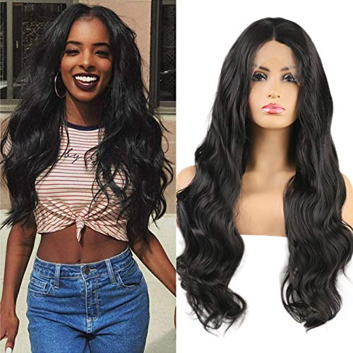 """Imeya #2 Darkest Brown Lace Front Wigs For Women- 24"""" Middle Parting Body Wave Wig With Natural Hairline 13x4 Swiss Lace Wig Heat Friendly Fiber Wig 150% Density (#2, Brown Tend To Black, 24 Inches)"""