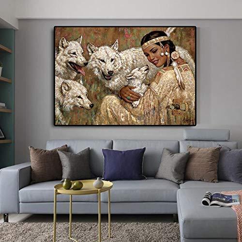 Puzzle 1000 Piezas Lobo y niña India nativa Puzzle 1000 Piezas Animales Juego de Habilidad para Toda la Familia, Colorido Juego de ubicación.50x75cm(20x30inch)