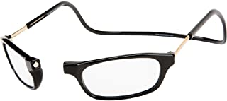 CliC Original Long Stem Adjustable Front Magnetic Connect Reading Glasses; Black +2.00