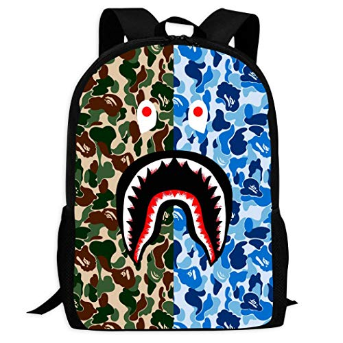 JYFDC-22 Bape Hai-Gesicht grün blau Camo 3D Druck Rucksack Schultasche Student Büchertasche für Mädchen Jungen