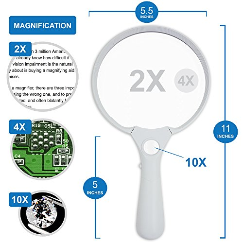 Fancii Extra große LED Handlupe mit Licht zum Lesen, 2x 4x 10x Fach Vergrößerung – Beste Jumbo Größe Beleuchtete Leselupe Vergrößerungsglas für Bücher, Zeitungen, Landkarten, Münzen, Schmuck, Hobbies - 3