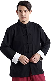 Best Men`s Chinese Traditional Linen Cotton Tai Chi Kung Fu Mandarin Collar Frog-Button Shirt Review