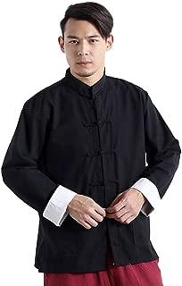 Idopy Men`s Chinese Traditional Linen Cotton Tai Chi Kung Fu Mandarin Collar Frog-Button Shirt