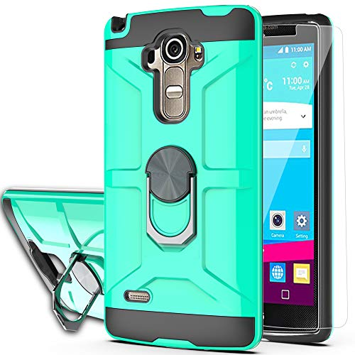 LG G Stylo Case,LG G4 Stylus Case (Not Fit LG G4) with HD Screen Protector YmhxcY 360 Degree Rotating Ring Kickstand Holder Dual Layers of Shockproof Phone Case for LG LS770-ZS Mint