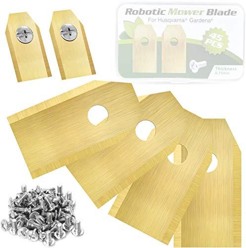 Hoja de repuesto para robot Husqvarna ® Automower® / Gardena®, hoja de repuesto de titanio para cortacésped Husqvarna de 45 piezas, 30 tornillos.