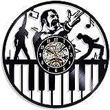 Freddie Mercury Reloj de Pared de Vinilo Diseño Moderno Sala de Estar Queen Rock Band Reloj de Pared con Registro de Vinilo Retro Decoración del hogar 005 Sin LED