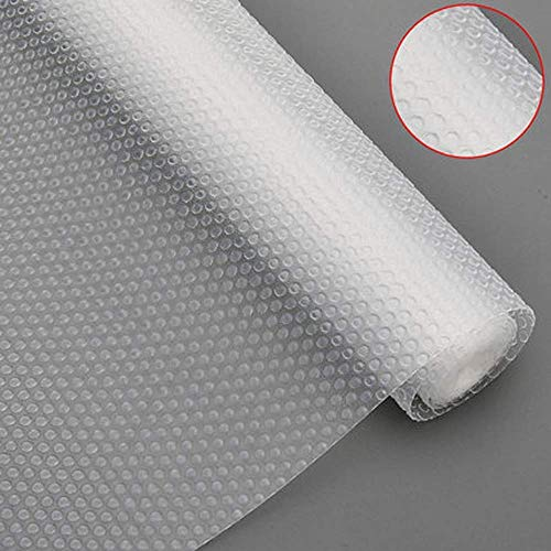 Bloss Plastic Shelf Liners Cabinet Drawer Liner Non-Slip Shelf Liner Non-Adhesive Refrigerator Mat Cupboard Pad No Odor for Kitchen Home-Clear 17.7 ×59 Inch