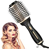 Hair Dryer Brush - Hair Dryer and Styler Volumizer 4 in 1 Straightener Curler Hot Air Brush, Blow Dryer Brush in One, Salon Negative Ion Ceramic Blow Dryer for Smooth Soft and Frizz-free Hair