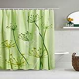 MEJX Duschvorhang,Distel Standard Grün,personalisierte Deko Badezimmer Vorhang,mit Haken,180 * 210