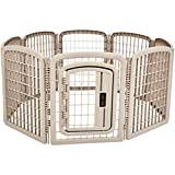 AmazonBasics 8-Panel Plastic Pet Pen Fence Enclosure With Gate - 59 x 58 x 28 Inches, Beige