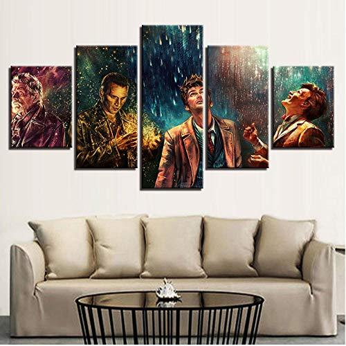 Lllyzz Leinwanddrucke 5 Stücke Doctor Who Film Charaktere Wohnkultur Malerei Poster Für Wohnzimmer Schlafzimmer Frameworkd Drucke Auf Leinwand 150X80CM