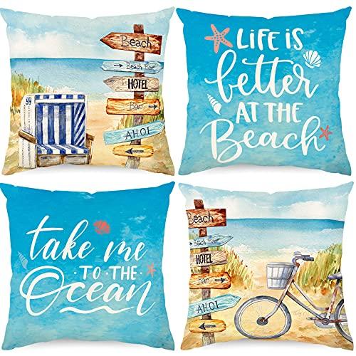 Whaline Summer Beach Pillow Cover Tropical Sea Ocean Cushion Case 18 x 18 Inch Linen Blue Throw Pillow Case Summer Decorative Cushion Cover for Indoor Outdoor Couch Bed Sofa Home Decoration