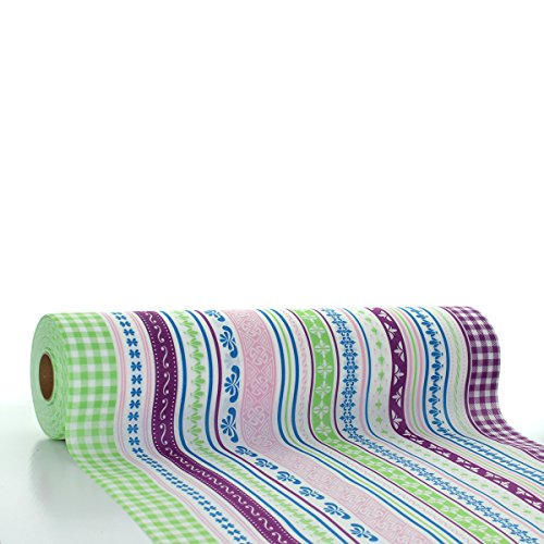 Sovie HORECA Tischläufer Babette | Linclass® Airlaid Tischläufer 40cm x 24m | Tischdecken-Rolle stoffähnlich | Einmal-Tischdecke für Hochzeit & Partys Grün-Aubergine