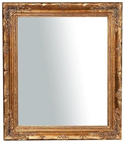 Specchio, Specchiera rettangolare da parete, da appendere al muro orizzontale verticale, Shabby chic, trucco, bagno, cornice finitura colore oro anticato, L64xPR4xH74 cm. Stile shabby chic.