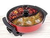 Electric Shabu Shabu Hot Pot 2 Flavor with Divider. Non-Stick Coating. 1360W