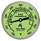 Tel-Tru BQ300 Barbecue Thermometer, 3 inch glow dial with zones, 4 inch stem, 100/500 degrees F