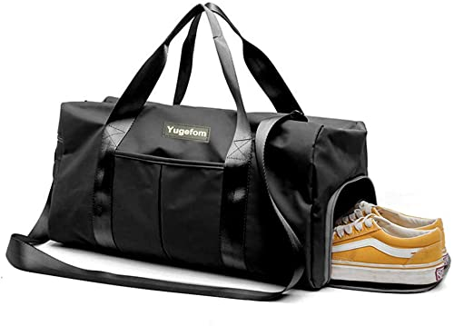 Yugefom Dry Wet Separated Gym Bag, Sport Gym Duffle Holdall Bag Training Handbag Yoga Bag Travel Overnight Weekend Sh...