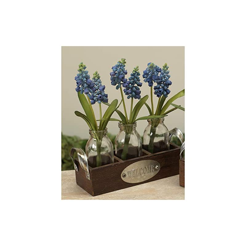 silk flower arrangements one holiday way set of 3 artificial hyacinth flowers in glass bottles with wooden basket – indoor tabletop decoration (blue)