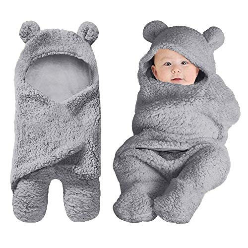Newborn Baby Girls Boys Swaddle Receiving Blankets Wraps Soft 0-6 M Baby Clothes Plush Accessories, Grey
