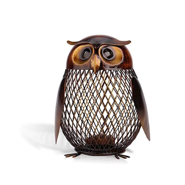 Tooarts Owl Shaped Metal Coin Bank Box Handwork Crafting Art 3