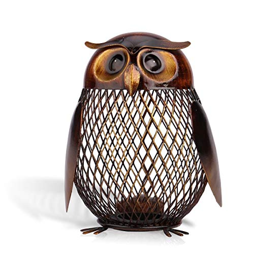 Tooarts Money Box Owl Shaped Piggy Bank Metal Coin Bank Box Handwork Crafting...