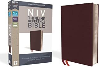 NIV, Thinline Reference Bible, Bonded Leather, Burgundy, Red Letter Edition, Thumb Indexed, Comfort Print