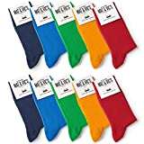 10 Paar Socken von Mat und Vic's für Sie & Ihn - Cotton classic bequem ohne drückende Naht - angenehmer Komfort-B& - OEKO-TEX Standard 100 (35-38, Fun Colors) 35-38
