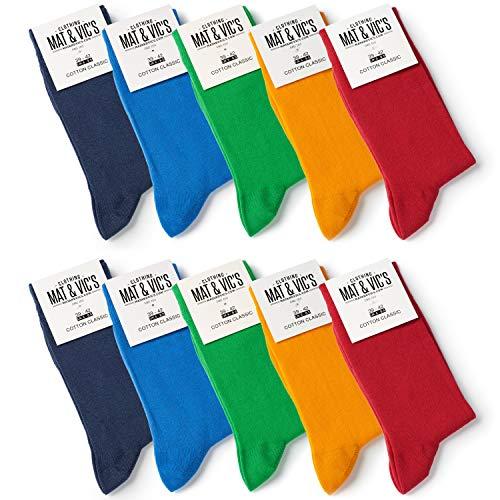 10 Paar Socken von Mat & Vic's für Sie und Ihn - Cotton classic bequem ohne drückende Naht - angenehmer Komfort-Bund - OEKO-TEX Standard 100 (43-46, Fun Colors) 43-46