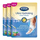 Dr. Scholl's Ultra Hydrating Foot Peel Mask 3pk, Intensely Moisturizes Repairs and Softens Rough Dry skin with Urea, 3 Count