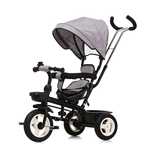 XXW kinderwagen afneembare duwstang met zonneklep kinderpedaal trike fiets draaibare zitting kinderwagen kinderen driewieler wagen