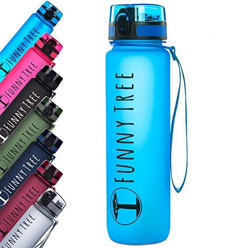 Funny Tree® Trinkflasche aus Tritan. 500ml Ocean Blue. Water Bottle BPA frei und auslaufsicher! Ideal als Sportflasche, Wasserflasche oder beim Wellness. Auch bestens für Kinder geeignet.