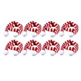NUOBESTY 8pcs Mini Christmas Knit Scarf Pet Scarf Red and White Stripes Small Scarf Wine Bottle Decor Xmas Tree Hanging Ornaments DIY Crafts Doll Supplies