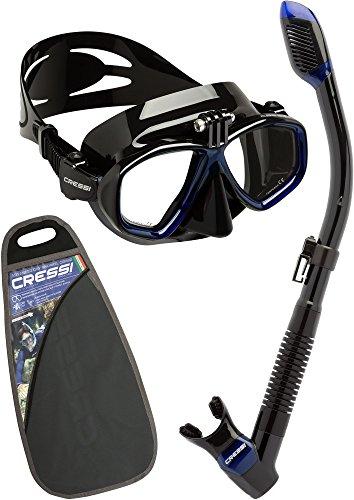 Cressi Action&Dry Kits Máscara Tubo, Unisex Adulto, Negro Azul/Negro Azul, Talla Única