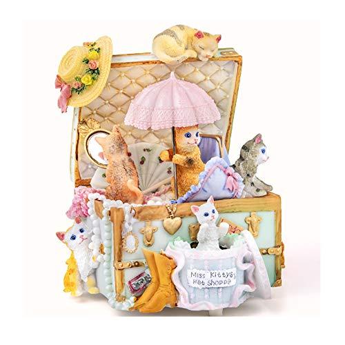 KGDC Caja de música Caja de música Caja Caja de música giratoria Regalo de cumpleaños niñas niños niñas Princesa niños Cielo Ciudad Ornamento de Escritorio