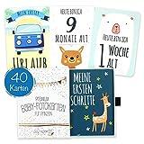 40 Baby Meilenstein-Karten für Jungen mit hochwertiger Verpackung von Cozy Racoon (Sprache Deutsch) - Meilensteinkarten als Geschenk zur Geburt, Babyparty, Schwangerschaft