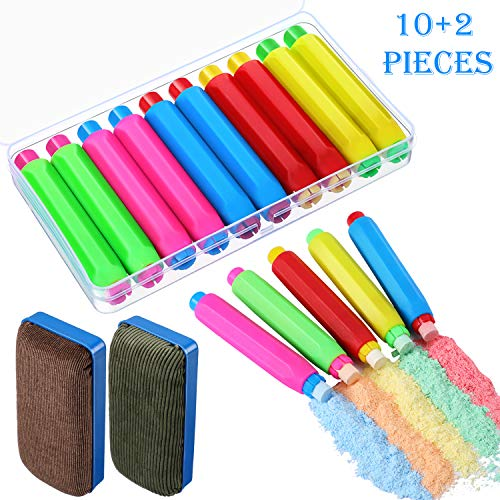 10 Pieces Colorful Plastic Chalk Holder Adjustable Chalk Clips with Storage Case and 2 Pieces Magnetic Chalkboard Erasers for School Office Whiteboard Supplies