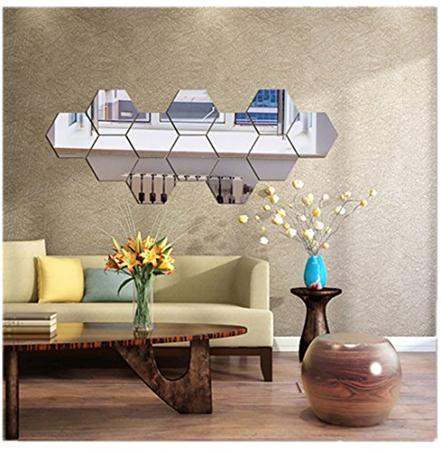 Highpot 3D Mirror Hexagon Vinyl DIY Silver Wall Sticker Removable Decal Home Decor Art 7Pcs (A)