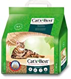 Cat's Best Arena Gatos Aglomerante Green Power Sensitive (2,9 kg). Tierra para Gatos de Hasta 8 Semanas de Uso con Perlas Naturales Anti Bacterias. Arena Biodegradable de Fibra Vegetal Ecológica.