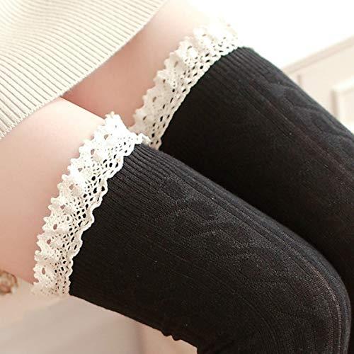 YAOLAN Calcetines Cordón de la Alta Rodilla del Tubo Largo Mujeres Calcetines, Tamaño: Un tamaño (Color : Black)